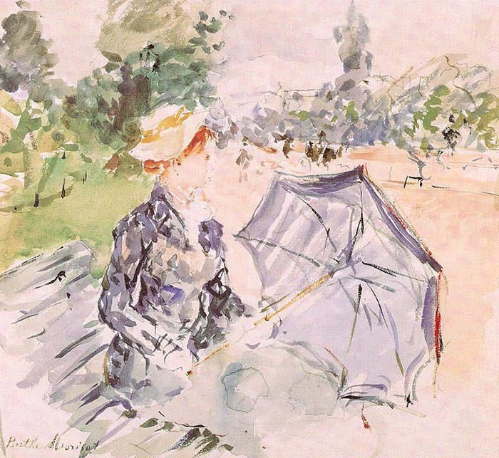 Berthe Morisot, Lady With a Parasol Sitting in a Park, 1885