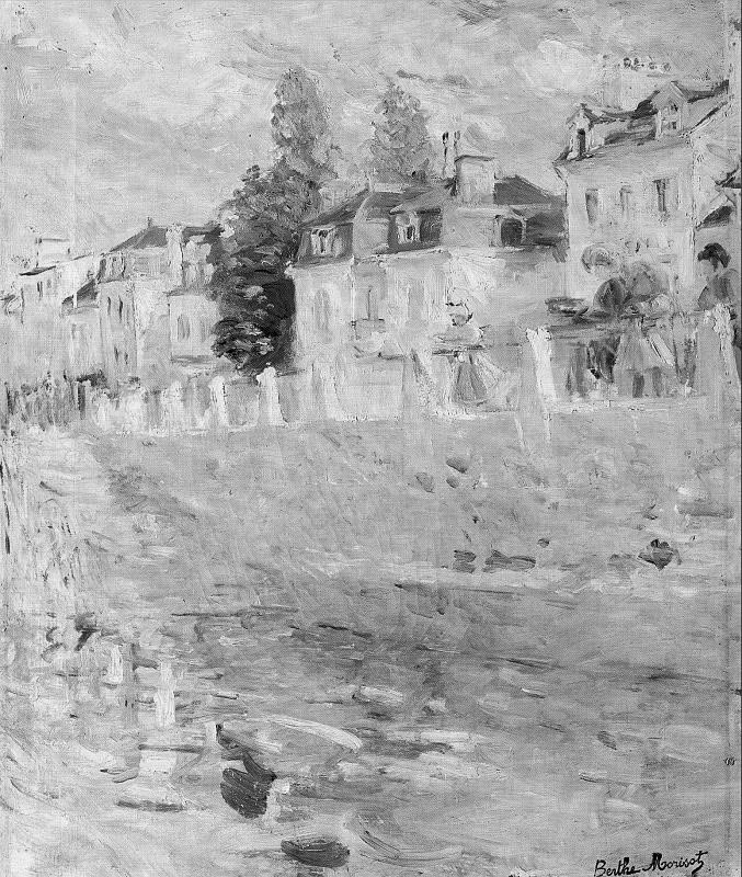Berthe Morisot, The Quay at Bougival, 1883 (Grayscale)