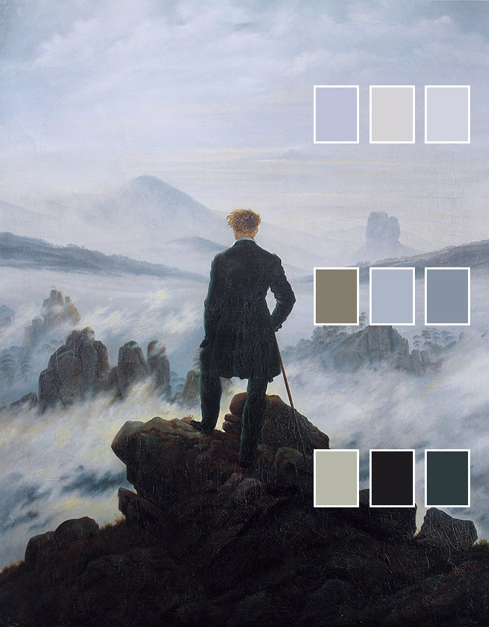 Caspar David Friedrich, Wanderer Above the Sea of Fog, 1818 (Atmospheric Color Changes)