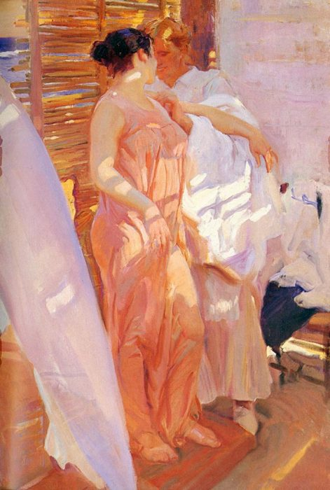 Joaquín Sorolla, A Pink Bathrobe, 1916