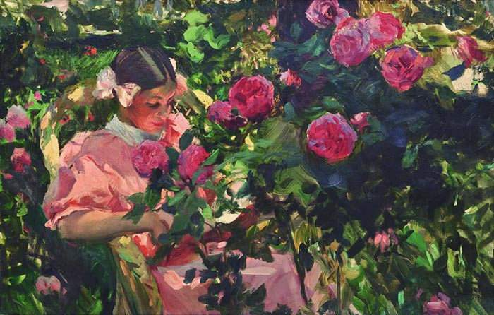 Joaquín Sorolla, Elena Among the Roses, 1907