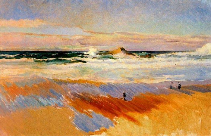 Joaquín Sorolla, The Beach in Biarritz, France, 1906