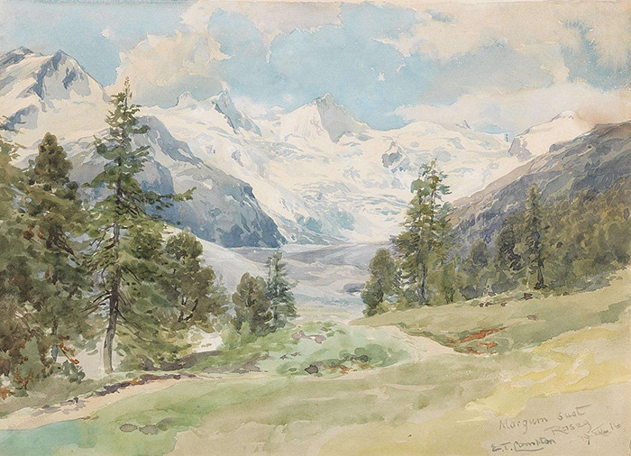Edward Theodore Compton, A View From the Val Roseg to La Sella, La Muongia and IL Chapütchin