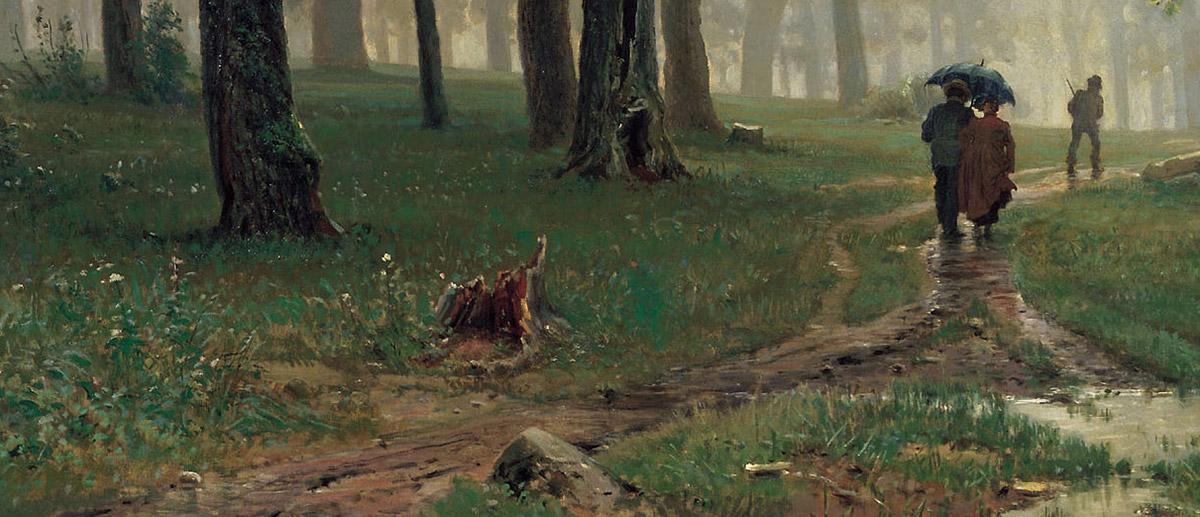 Ivan Shishkin, Rain in an Oak Forest (Close-Up)