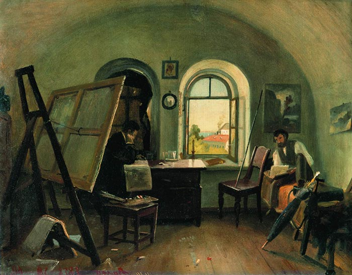 Ivan Shishkin, Workshop on the Island of Valaam, 1860
