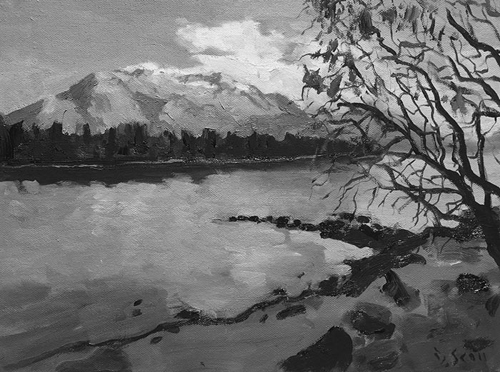 Grayscaled - Dan Scott, NZ Reflection (Study), 2017