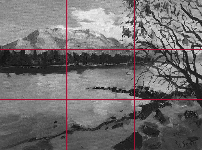 Grayscaled Gridlines - Dan Scott, NZ Reflection (Study), 2017