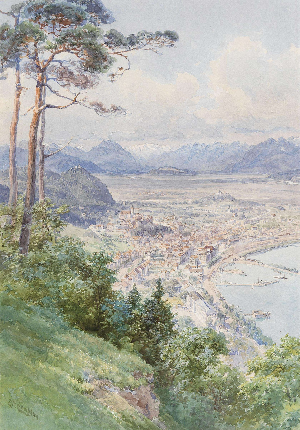 Edward Theodor Compton, A View of Bregenz and Lake Bodensee