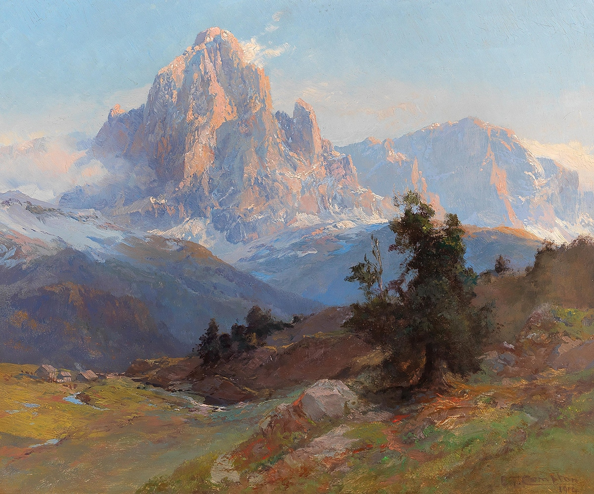 Edward Theodor Compton, A View of Mount Sassolungo, 1914