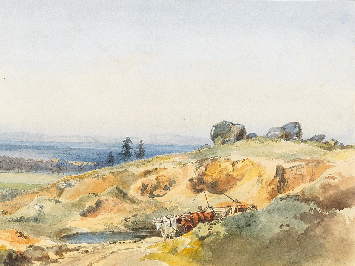 Edward Theodor Compton, Landscape With Ravine and Ox Cart