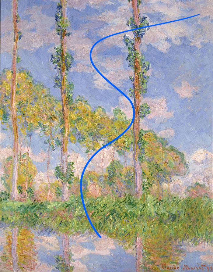 Claude Monet, Poplars in the Sun, 1891 (Gesture)