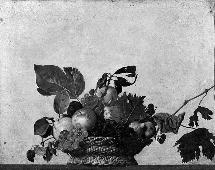 Caravaggio, Basket of Fruit, c.1599 (Grayscale)