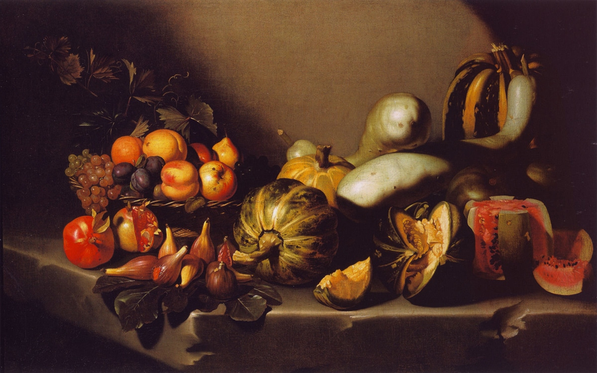 Caravaggio, Still Life with Fruit on a Stone Ledge, 1601