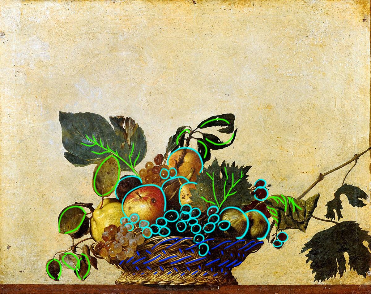 Caravaggio, Basket of Fruit, c.1599 (Draw Over)