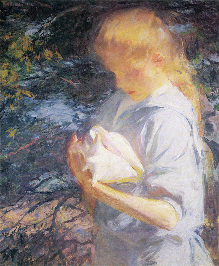 Frank W. Benson, Eleanor Holding a Shell, 1902