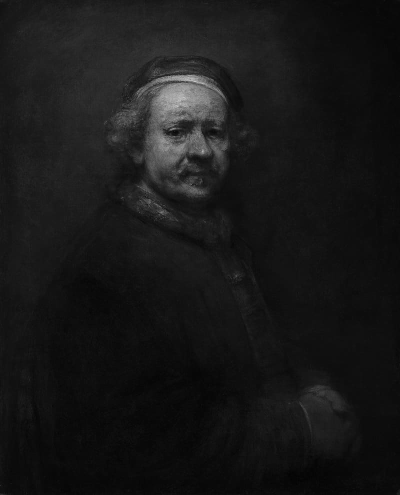 Rembrandt, Self-Portrait at the Age of 63, 1669 (Grayscale)