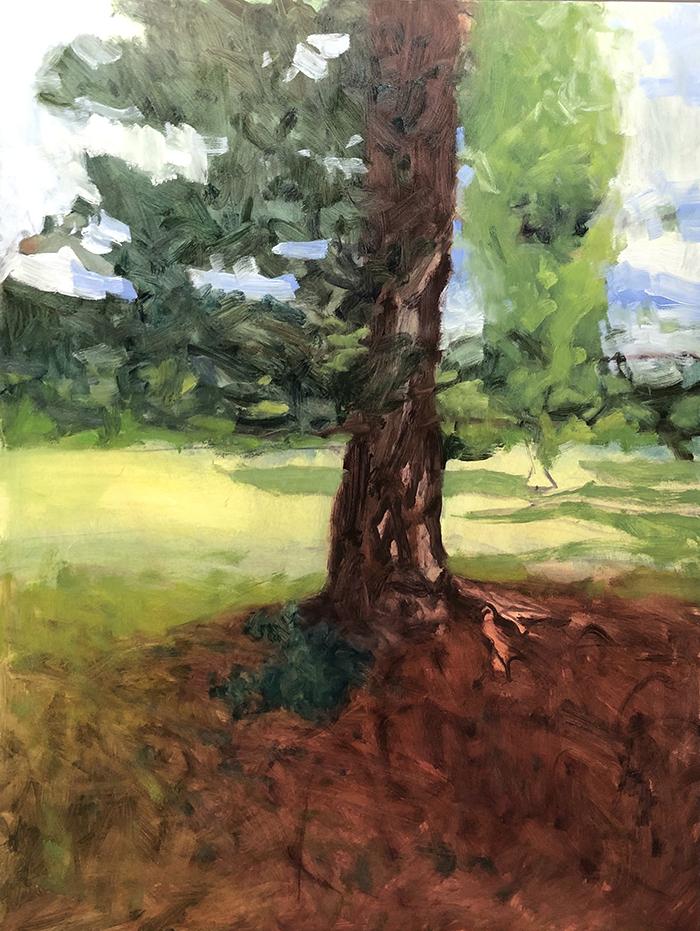 Dan Scott, Tree, Dappled Light 2020, WIP (2)