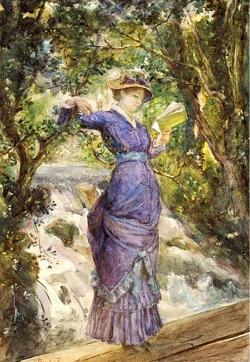 Marie Bashkirtseff, Girl Reading by a Waterfall, before 1884