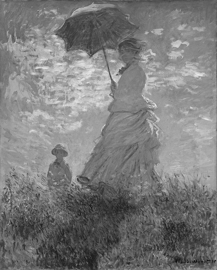 Claude Monet, Woman With a Parasol, 1875 (Grayscale)