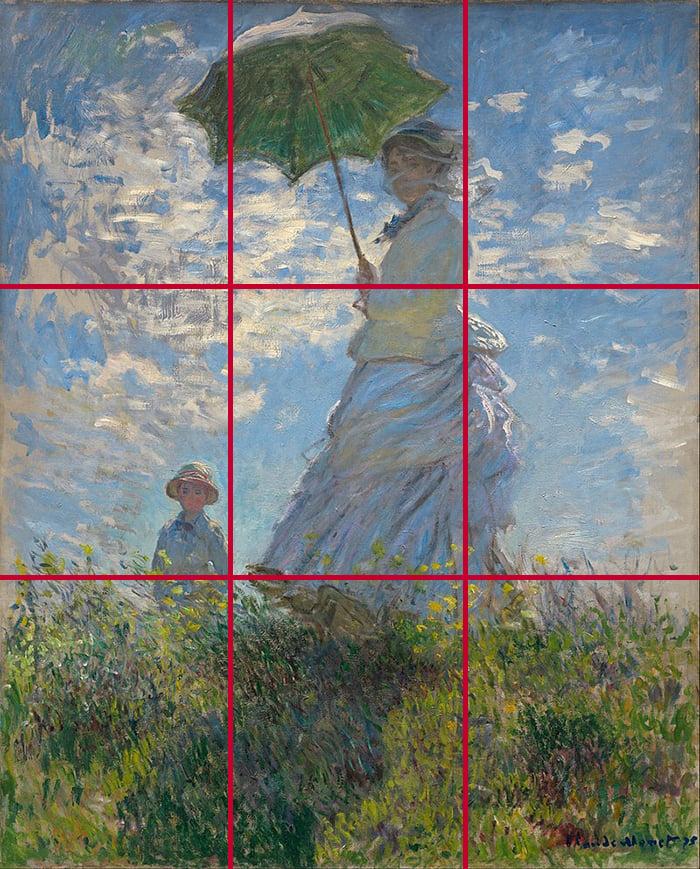Claude Monet, Woman With a Parasol, 1875 (Grid)