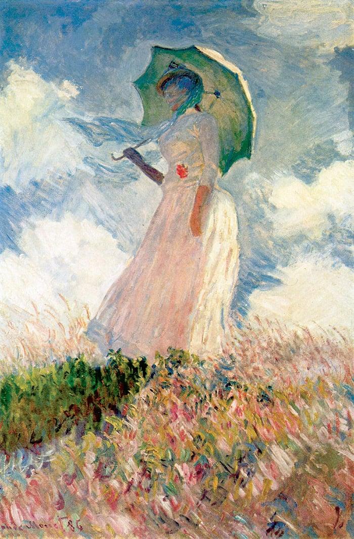 Claude Monet, Woman With a Parasol, Facing Left, 1886
