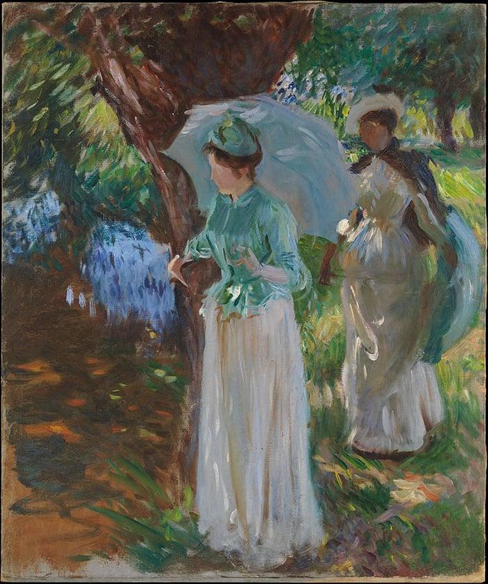 John Singer Sargent, Two Girls With Parasols at Fladbury, 1889