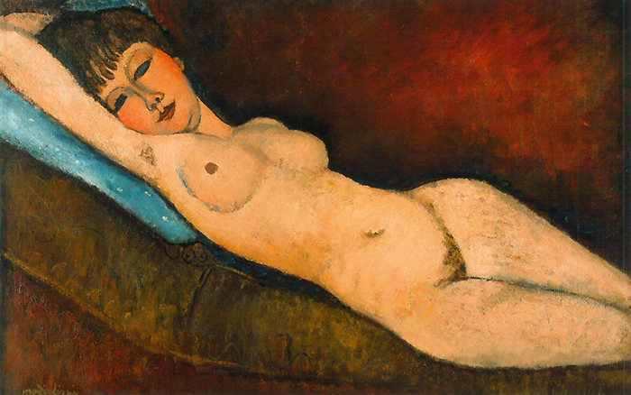 Amedeo Modigliani, Reclining Nude With Blue Cushion, 1917