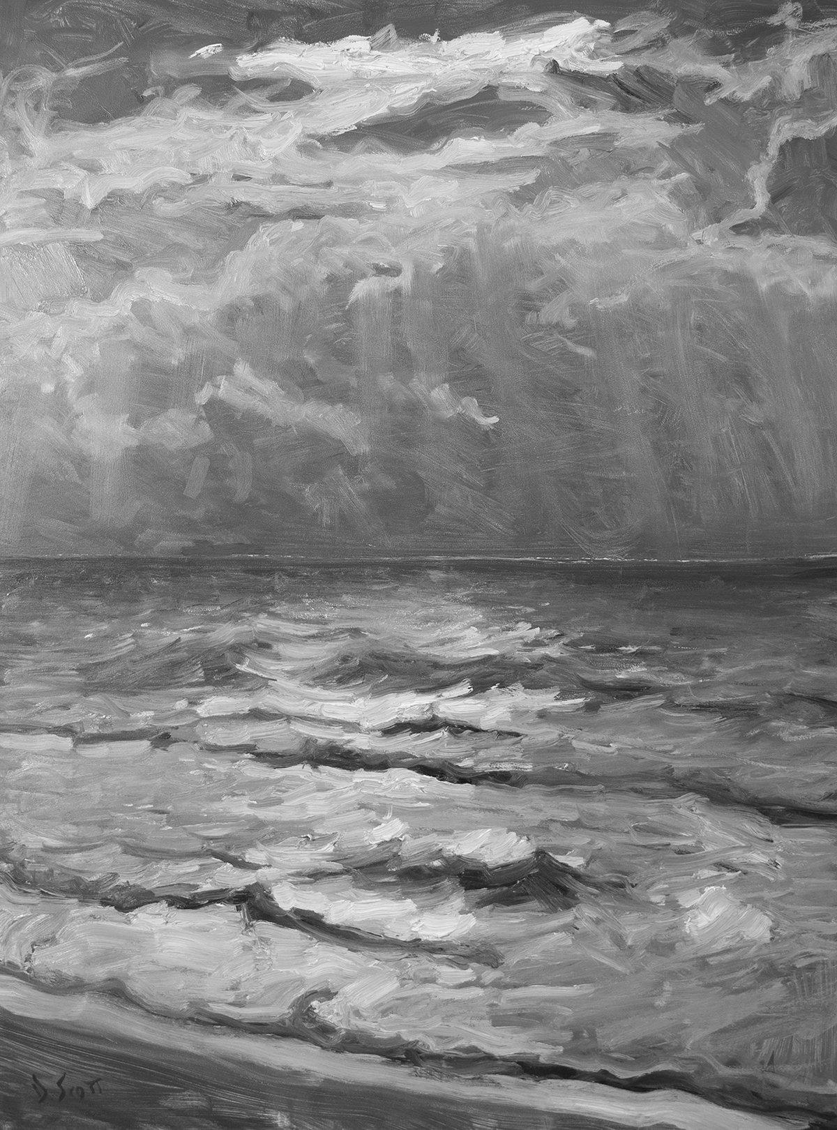 Dan Scott, Sunrise, Bribie Island, 2021 Grayscale