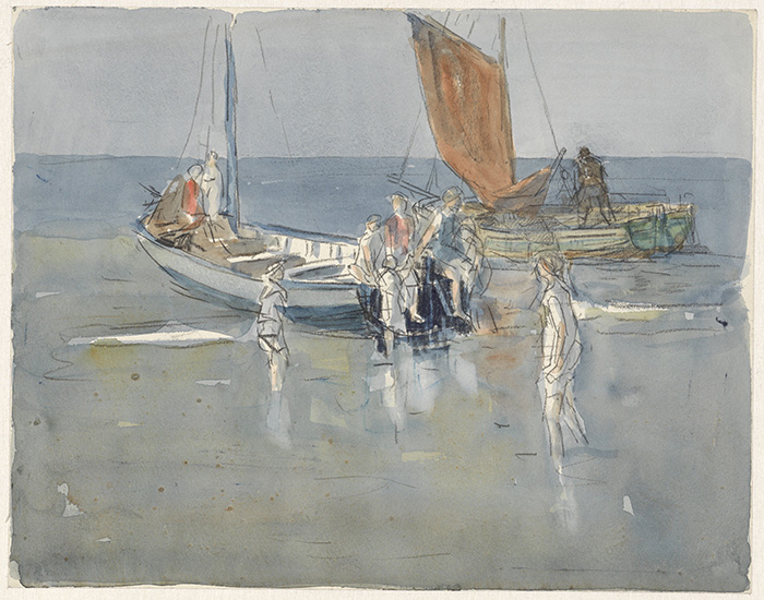 Johan Antonie de Jonge, Fishing Boats on the Beach of Scheveningen