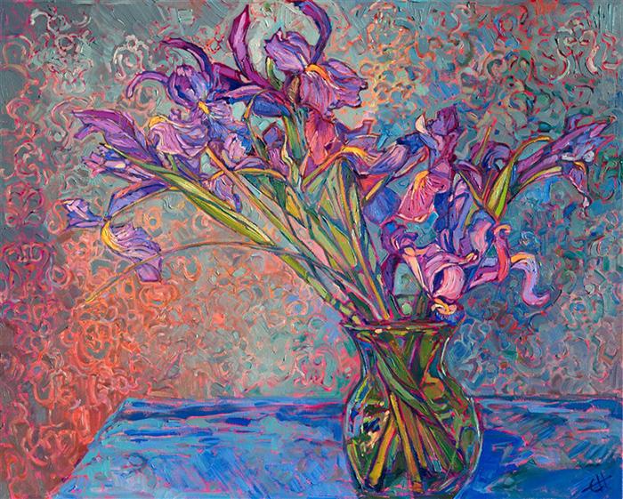 Erin Hanson, Irises in Vase, 2019