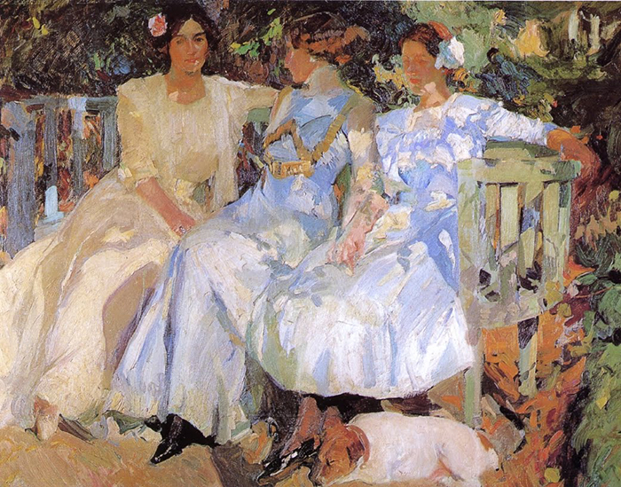 Joaquín Sorolla, My Wife and Daughters in the Garden, 1910