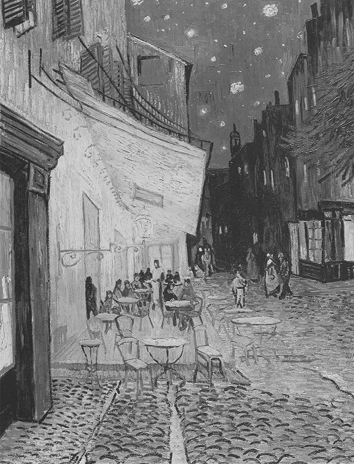 Vincent Van Gogh, Café Terrace at Night, 1888 (Grayscale)