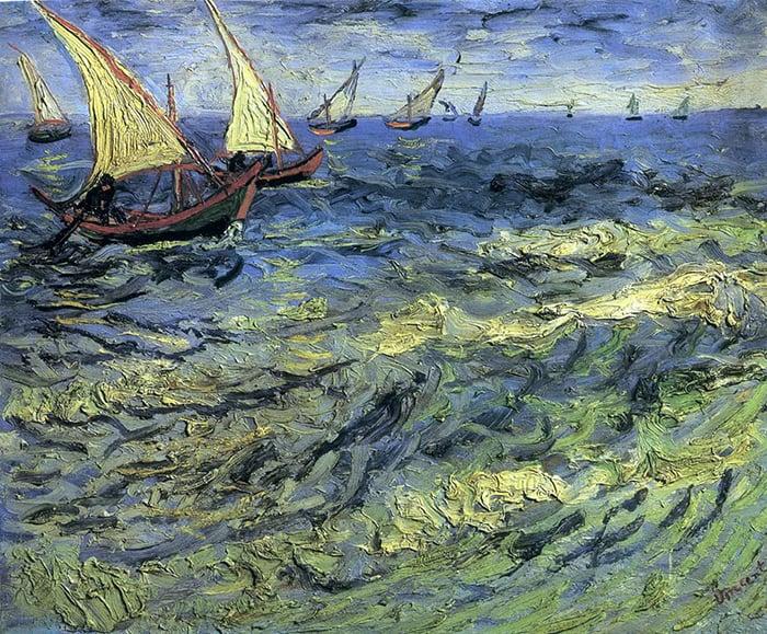 Vincent van Gogh, Seascape at Saintes-Maries (Fishing Boats at Sea), 1888