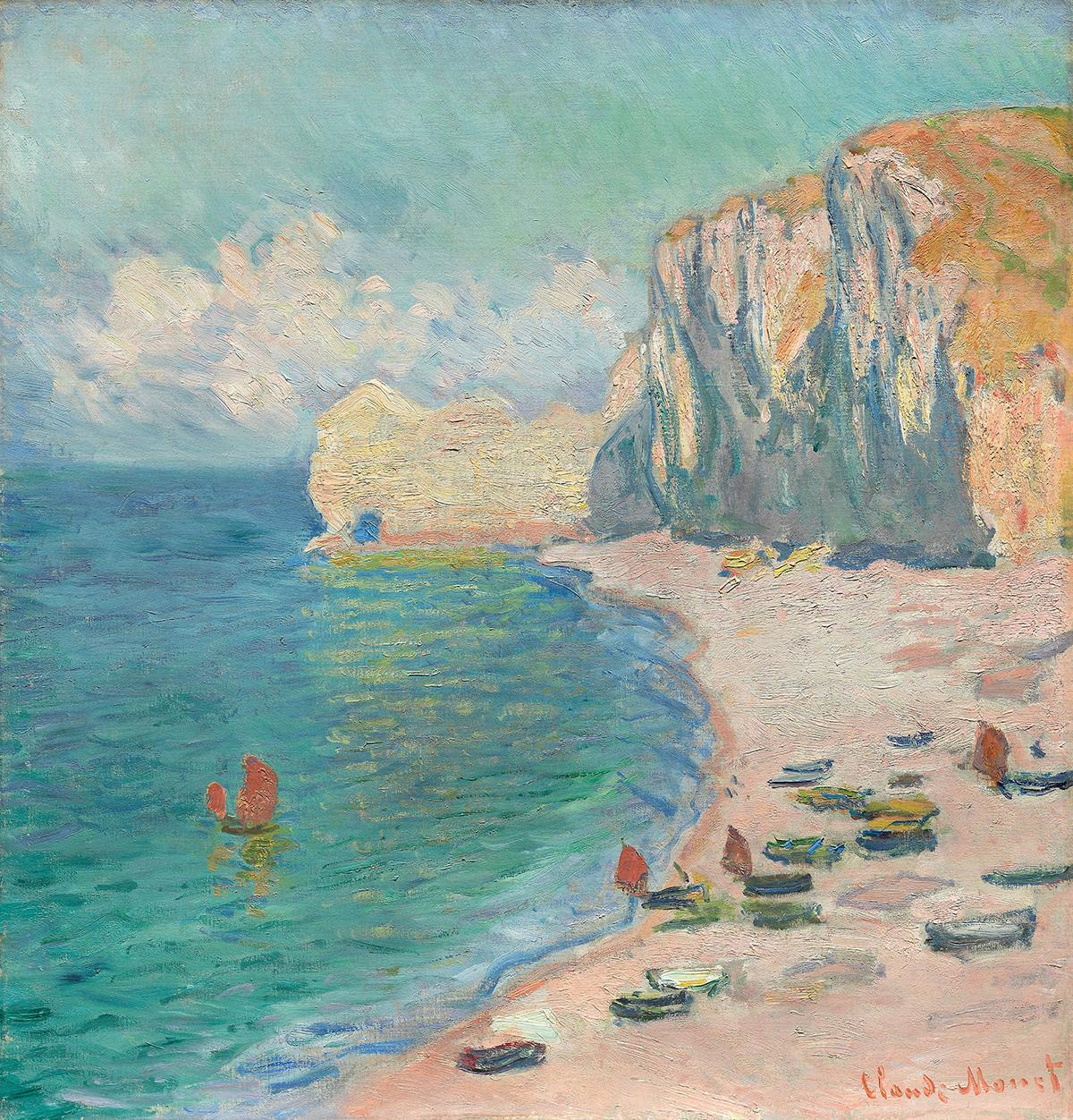Claude Monet, Étretat: The Beach and the Falaise d'Amont, 1885
