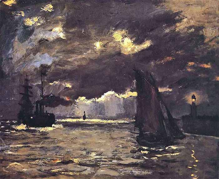 Claude Monet, Seascape, Ships in Moonlight, 1864