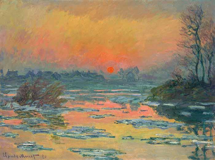 Claude Monet, Sunset on the Seine in Winter, 1880