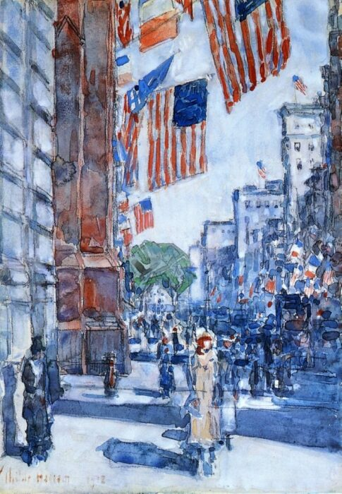 Childe Hassam, Flags, Fifth Avenue, 1918