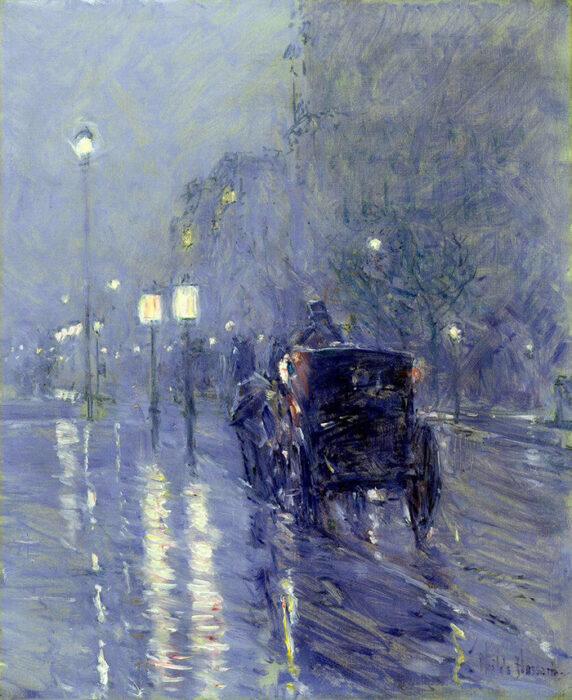 Childe Hassam, Rainy Midnight, 1890