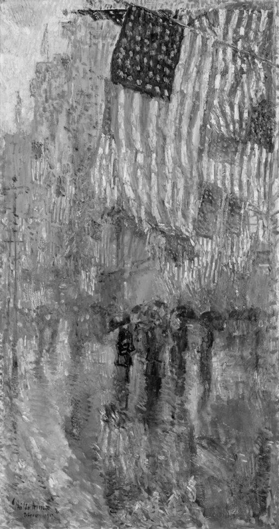 Childe Hassam, The Avenue in the Rain, 1917 (Grayscale)