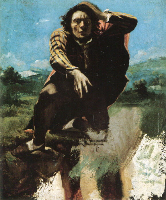 Gustave Courbet, The Man Made Mad with Fear, c.1843 - unfinished gouache on paper sketch