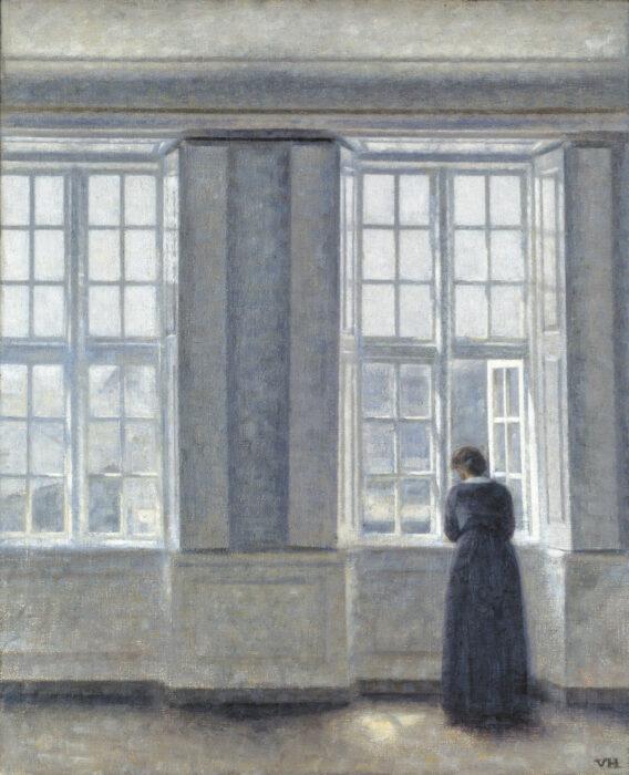 Vilhelm Hammershoi, The Tall Windows, 1913