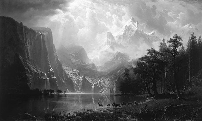 greyscaled_Albert Bierstadt, Among the Sierra Nevada, California, 1868 700W
