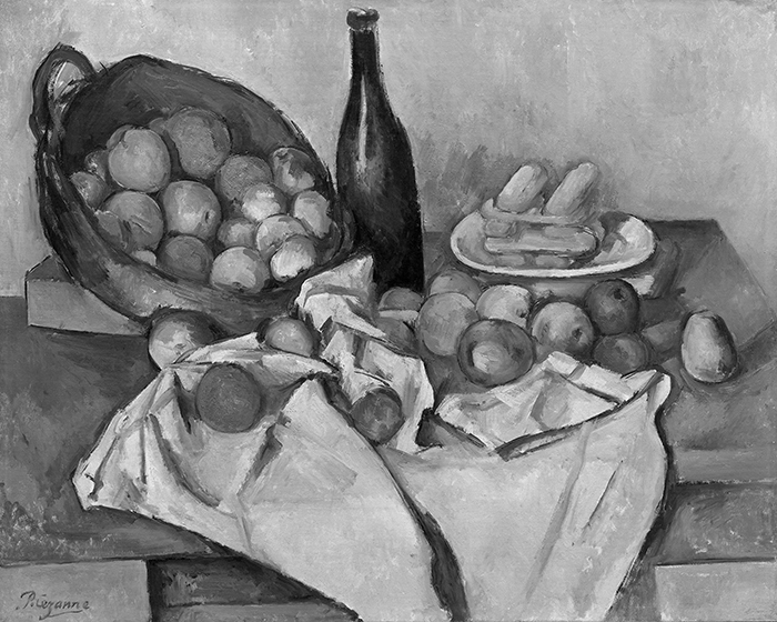 greyscaled_Paul Cézanne, The Basket of Apples, c. 1893 700W