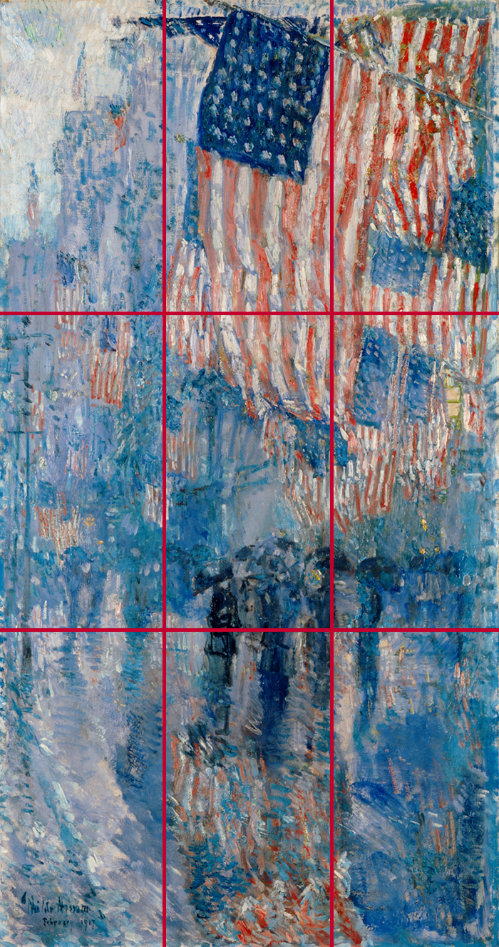 Childe Hassam, The Avenue in the Rain, 1917 (Grid)