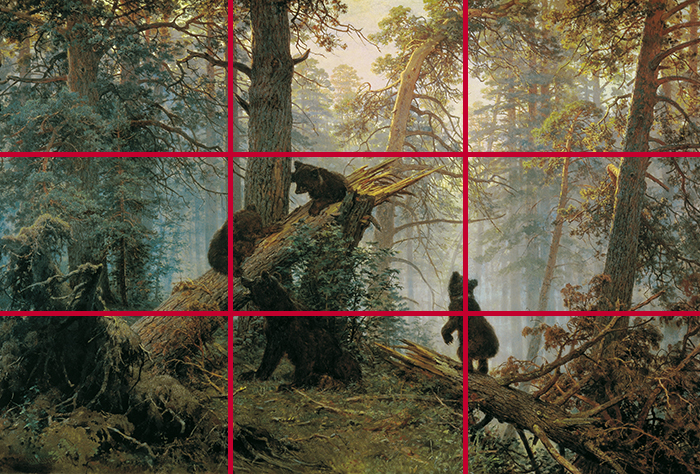 gridlines_Ivan Shishkin, Morning in a Pine Forest, 1889 700W