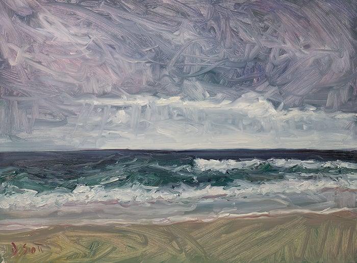 Dan Scott, Moody Seascape, The Spit, Gold Coast, 2021