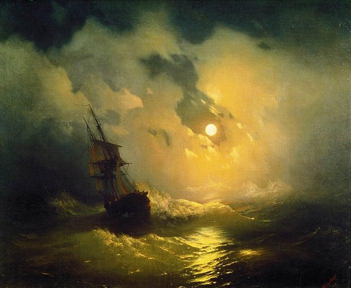 Ivan Aivazovsky, Stormy Sea at Night, 1849