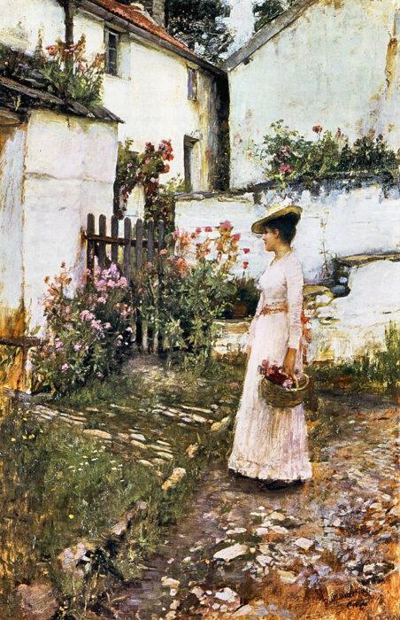 John William Waterhouse, Gathering Summer Flowers in a Devonshire Garden, c.1892