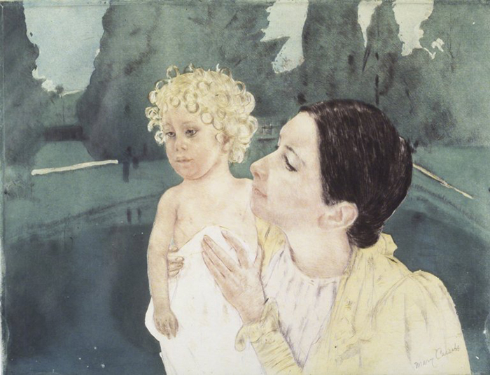Mary Cassatt, Mother and Child Before a Pool, c.1896