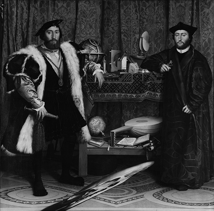 greyscaled_Hans Holbein the Younger, The Ambassadors, 1533 700W